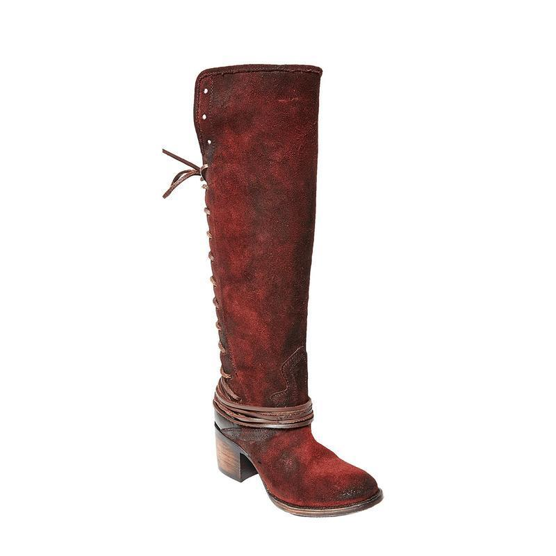 Womens Vintage Knee-high Boots Zipper Faux Suede Boots