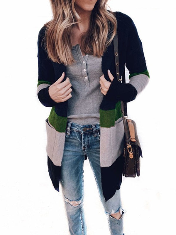 Women Multi-colored Pockets Long Sleeve Cardigans