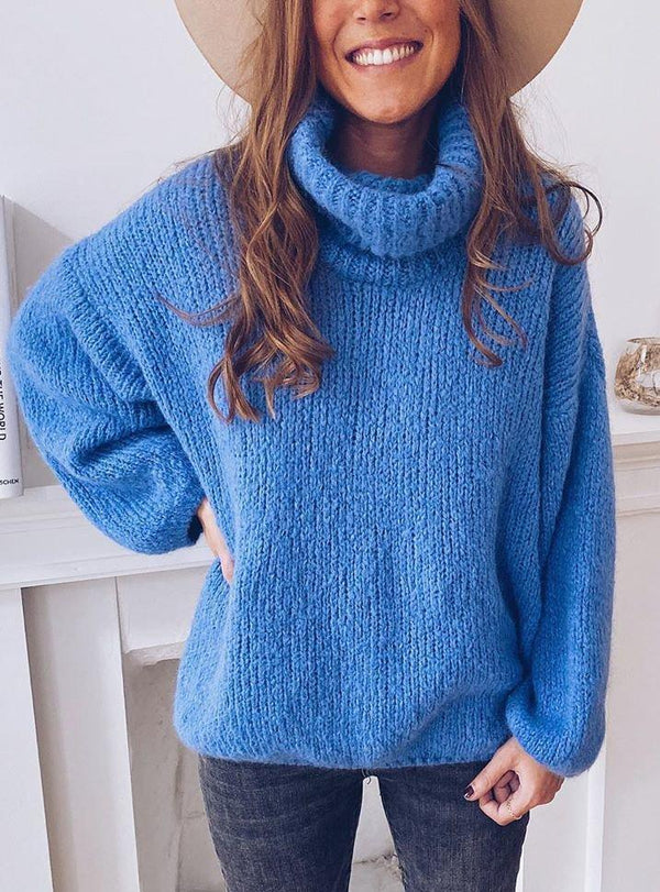 Large Size Casual Solid Color Turtleneck Long Sleeve Pullover