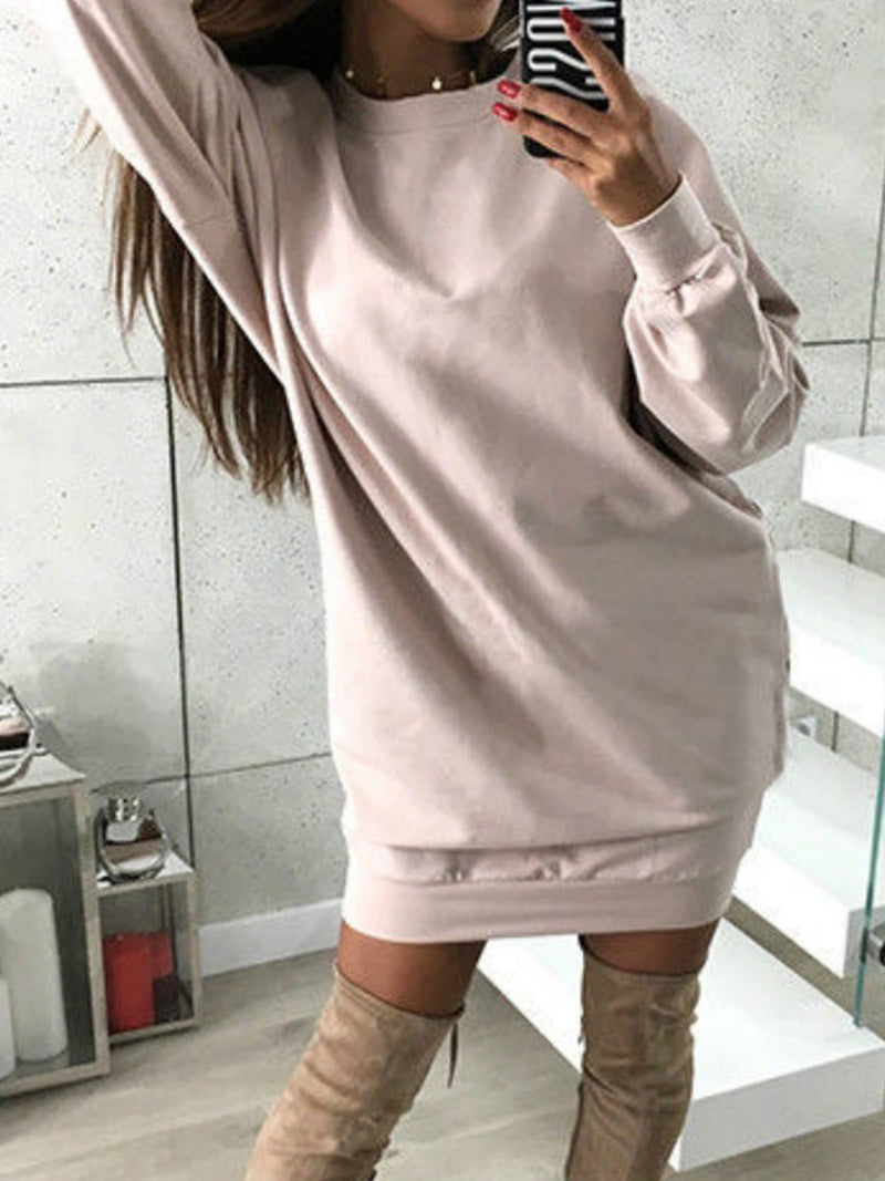Round Neck Women Daily Cotton-blend Casual Solid Casual Dress