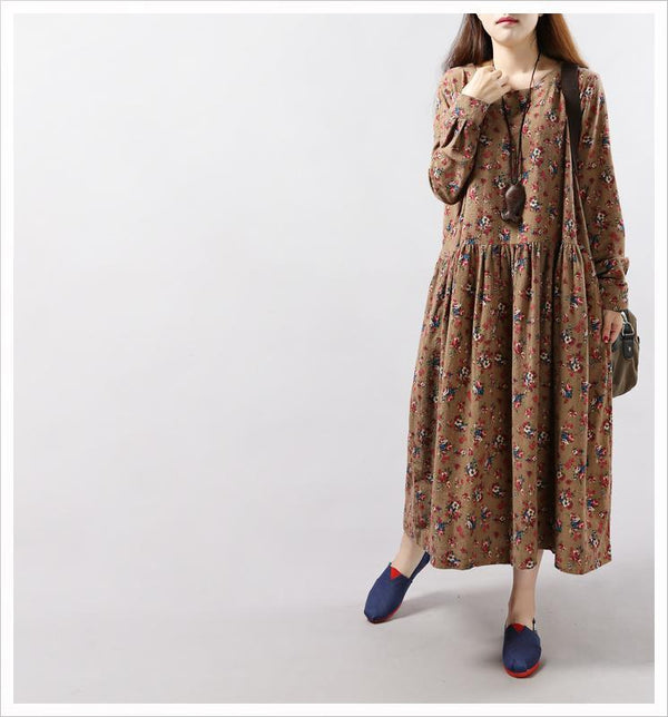 Floral Print Loose Long Sleeve Midcalf-length Linen Fall Dress