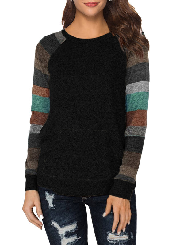 Front Pocket Color Block Stripe Raglan Sleeve Blouse