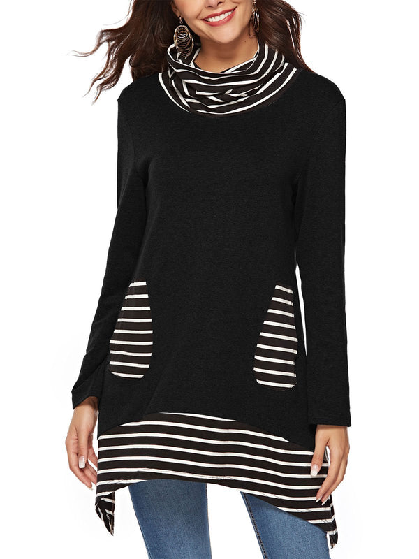 Stripe Heaps Collar&Asymmetric Hem Midi Long Sleeve T-shirt