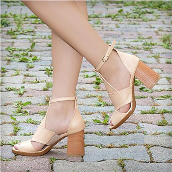 Fashion Color Block Ankle Strap High Chunky Heels Sandals