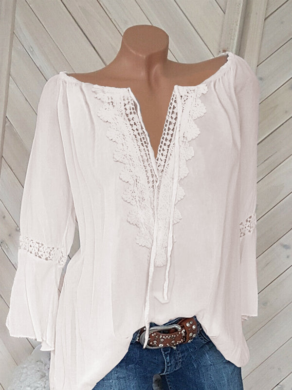Loose Wide Round Neck Appliqued Lace 3/4 Sleeved Blouse