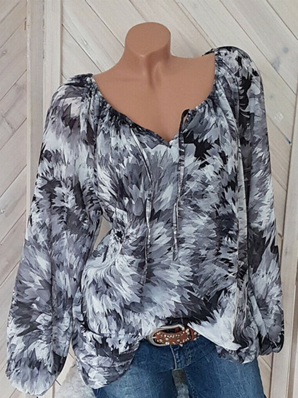 Floral Print Lace Long-Sleeved Plus Size Blouse