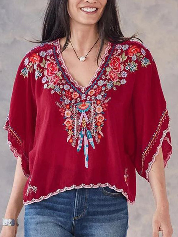 Floral Embroidery V Neck Half Sleeve Batwing Sleeve Loose Blouse Top