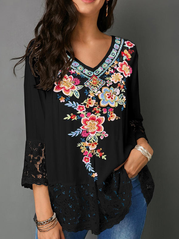 Floral Embroidery V Neck Lace Splice Sleeve&Hemm 3/4 Sleeve Blouse