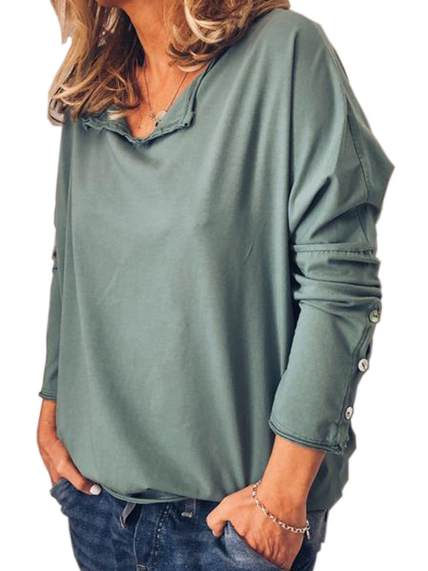 Solid Color Loose Casual Buttoned Sleeve Long-Sleeved T-Shirt