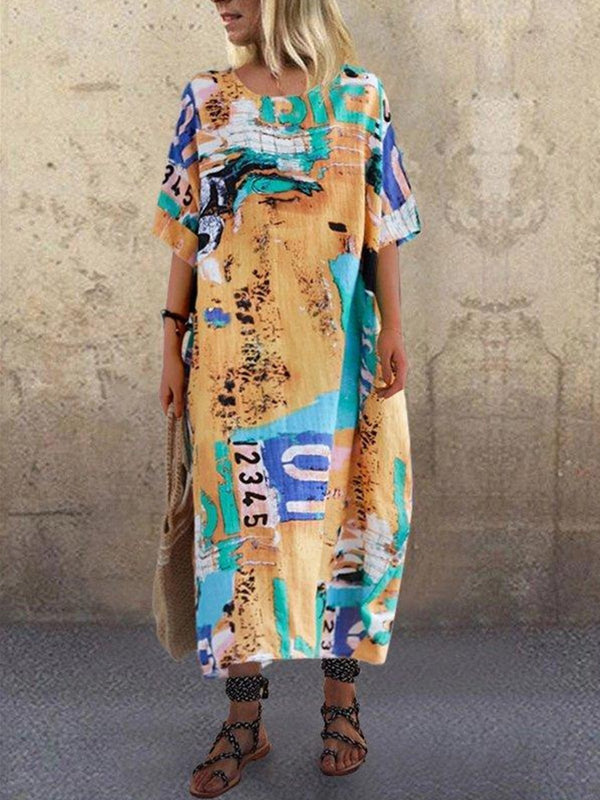 Round Neck Half Sleeve Abstract Print A-Line Dress