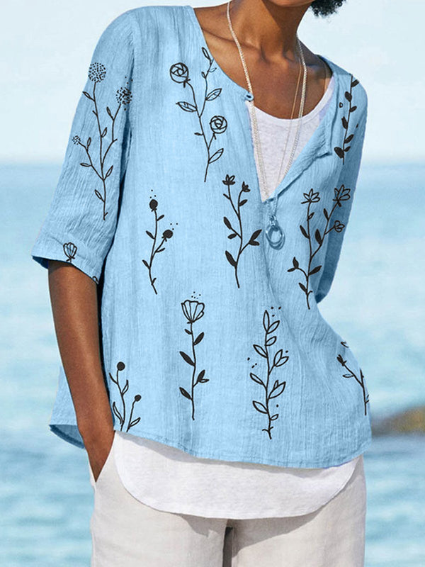 Cotton-Blend Floral Print Buttoned Half Sleeve Blouse