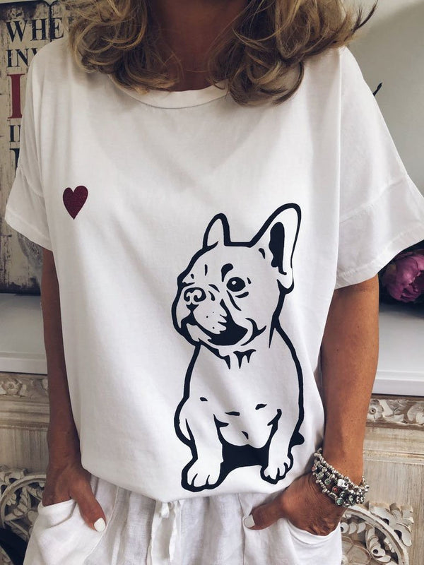 Bulldog Print Short-Sleeved Loose Casual T-Shirt