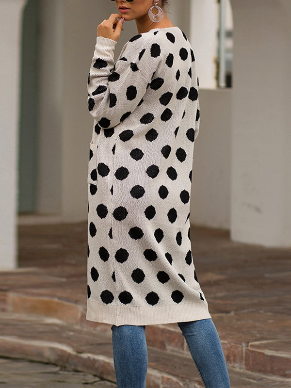 Polka Dot With Pocket Autumn/Winter Sweater Cardigan