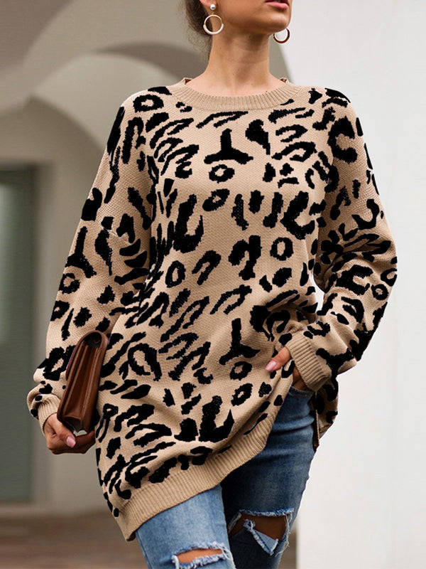Leopard Print Long-Sleeved Loose Knit Blouse