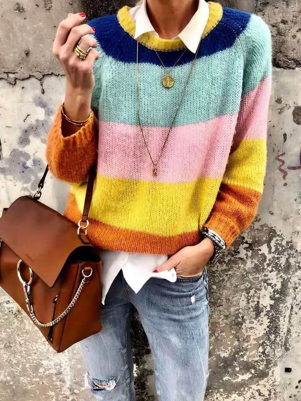 Rainbow Stripe Print Round Neck Long-Sleeved Sweater
