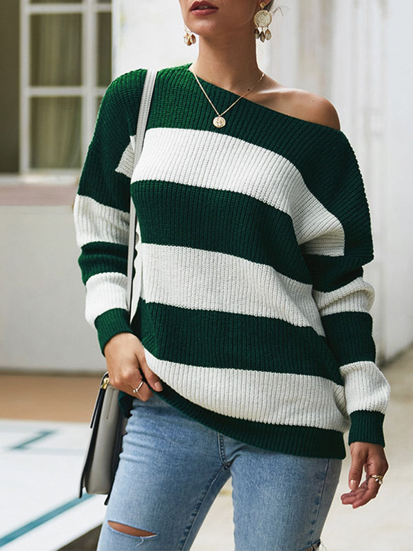 Autumn Stripe Sexy Round Neck Sweater Knit Loose Blouse