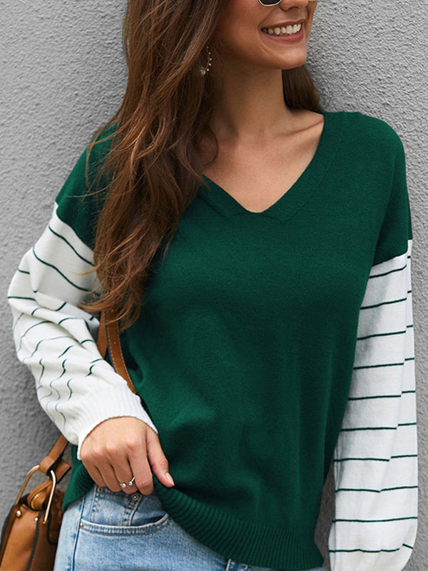 Color Collision Stripe Splice Sleeve Long-Sleeved Knit Blouse