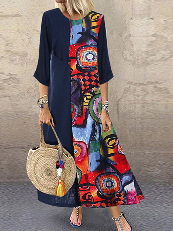 Plus Size Paint Print Splice Round Neck Long-Sleeved A-Line Dress