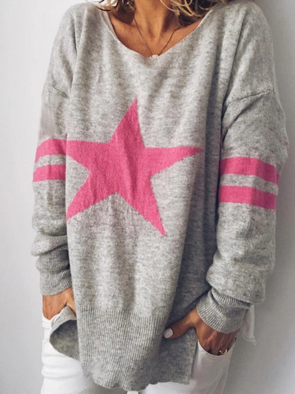Star V Neck Long-Sleeved Loose Knit Sweater