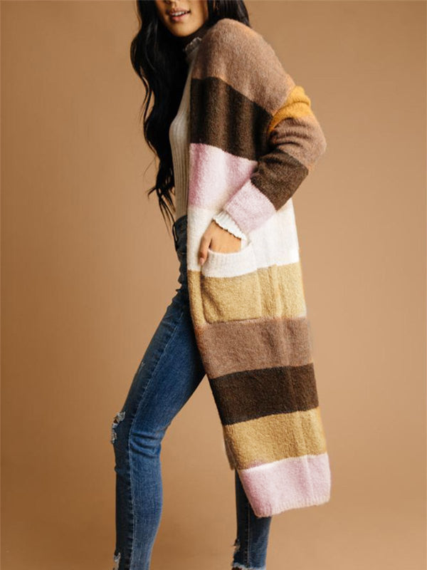 Multicolor Stripe With Pocket Extra-Long Sweater Cardigan