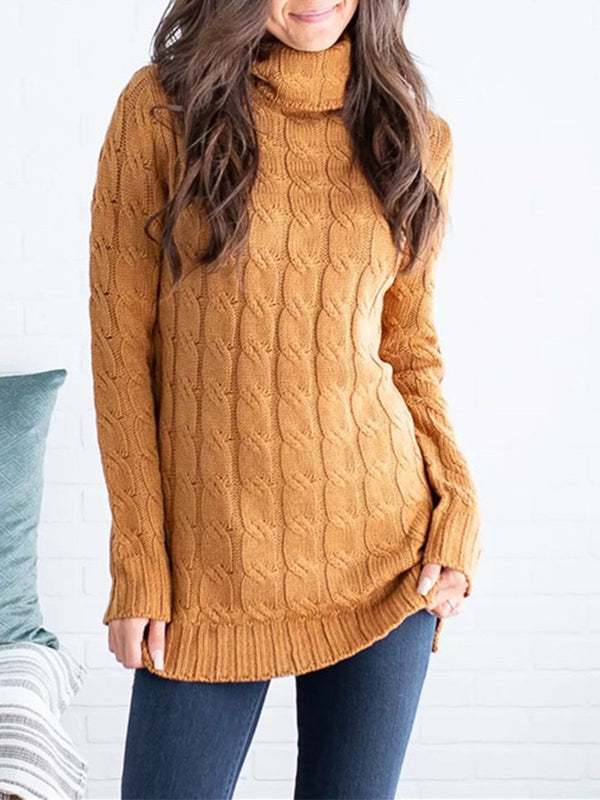 Solid Braid Sweater Knit Turtle Neck Loose Sweater