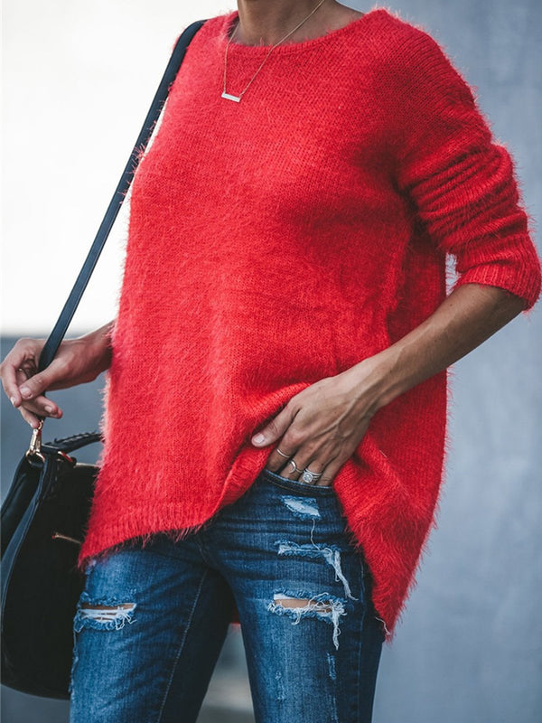 Red Solid Round Neck Loose Fluffy Sweater