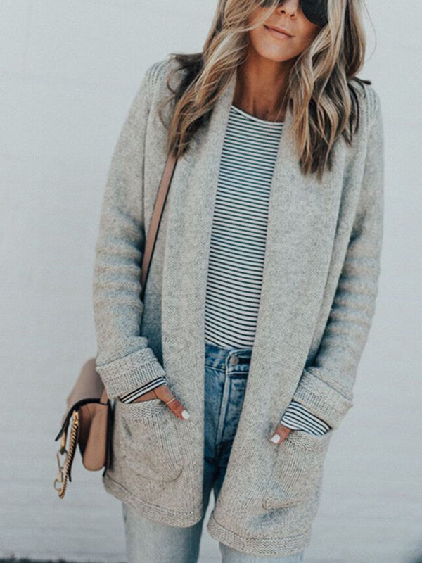 Gray Solid Simple With Pocket Extra-Long Sweater Cardigan