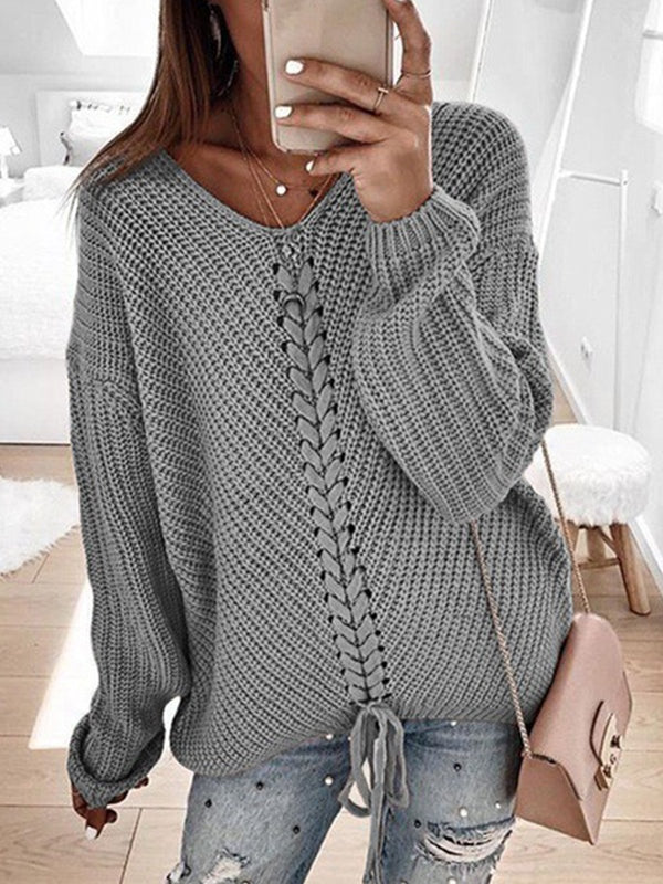 Plus Size Solid Crisscrossed Loose Sweater
