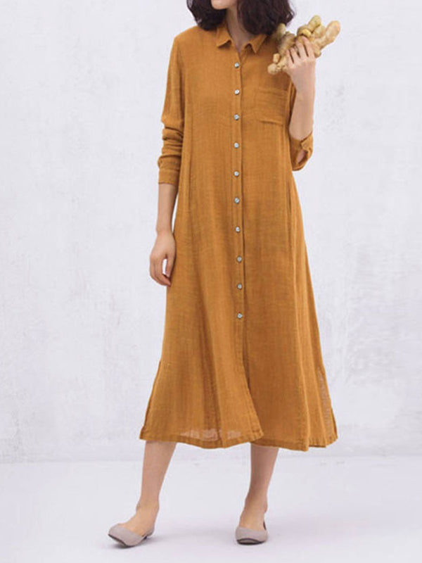 Solid Polo Collar Button-Down Long-Sleeved Slit Swing A-Line Dress