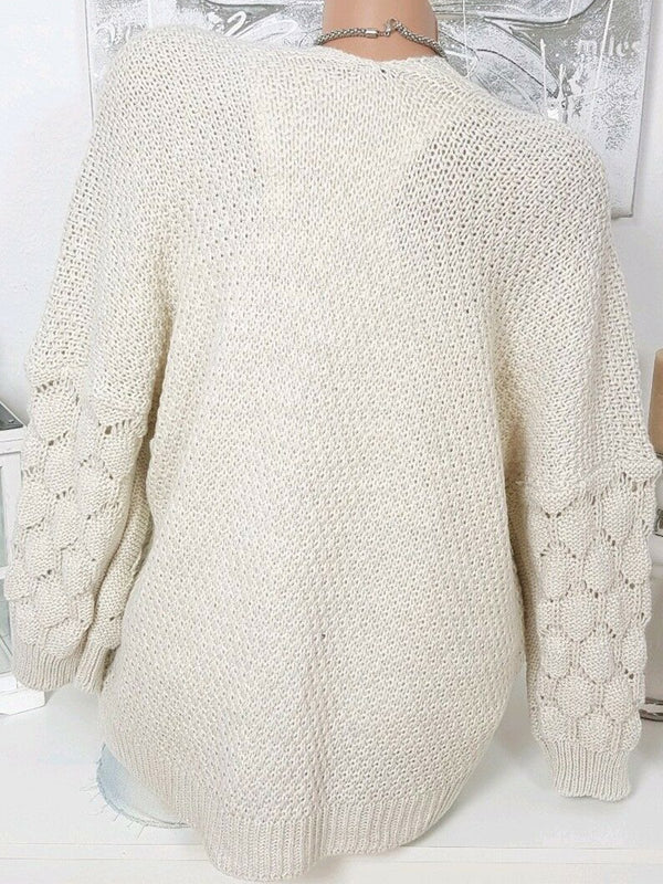 Solid Stylish Knit Sleeve Sweater Cardigan