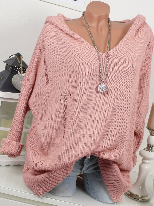 Solid V Neck Hooded Riped Long-Sleeved Sweater