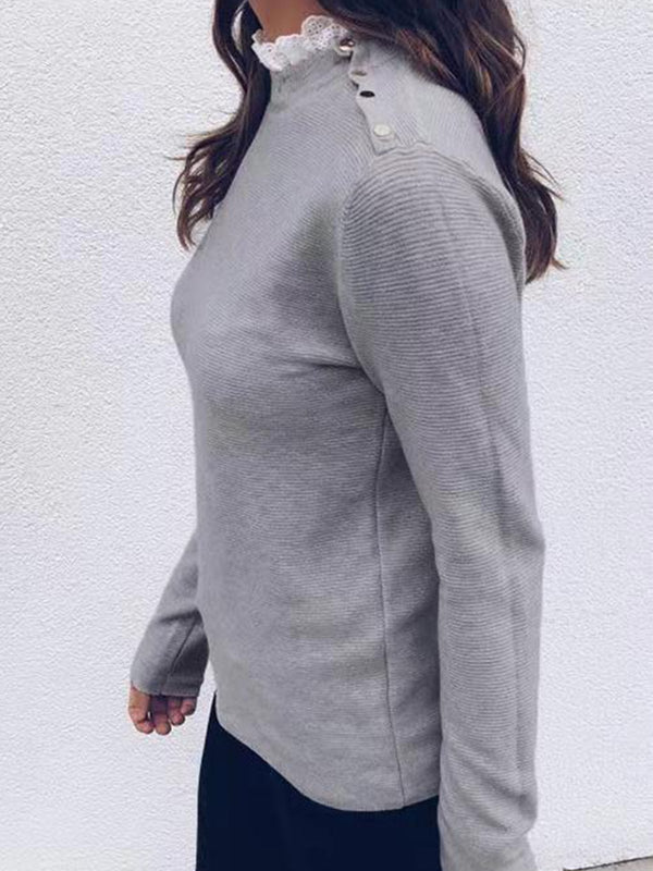 Solid Round Neck Buttoned Shoulder Long-Sleeved Knit Blouse