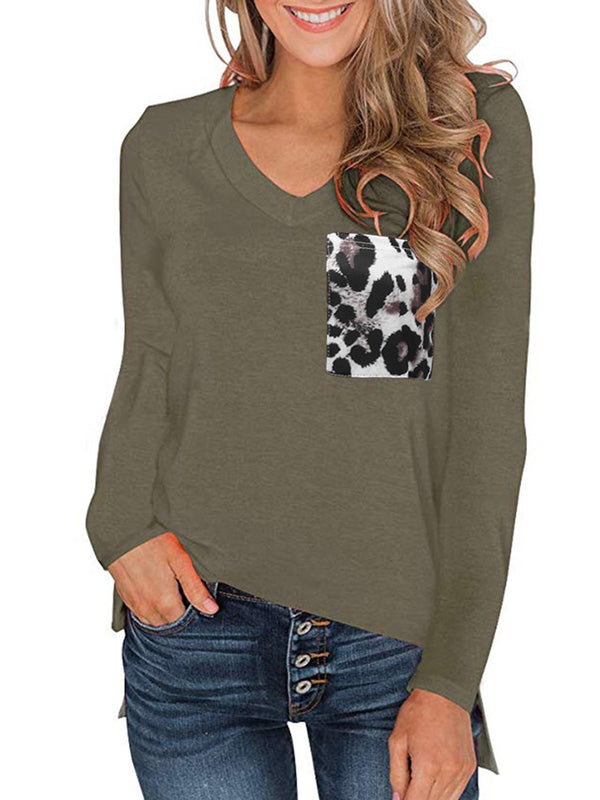 Leopard Print Patch-Pocket V Neck Long-Sleeved Loose T-Shirt