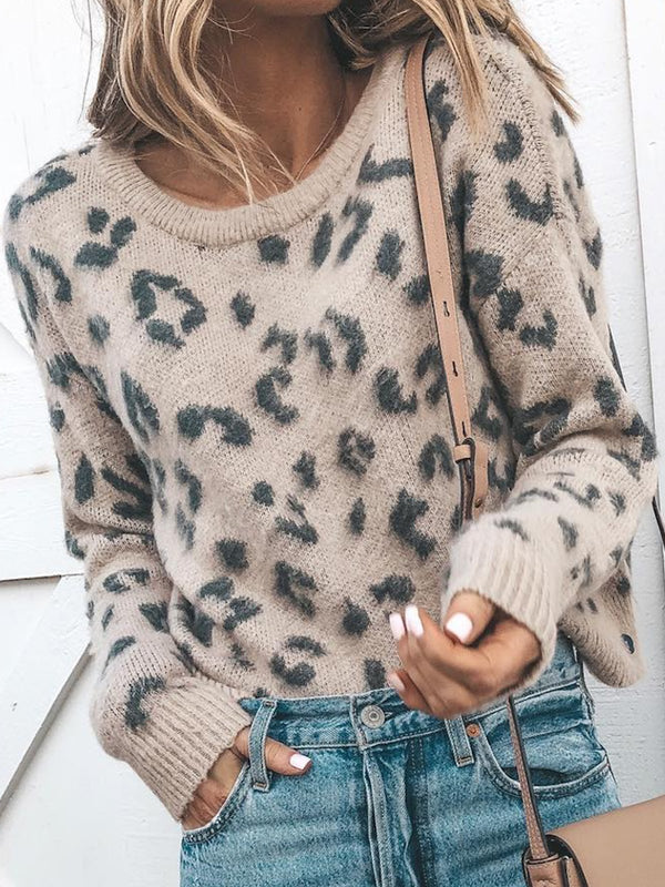 Leopard Print Pattern Round Neck Loose Sweater