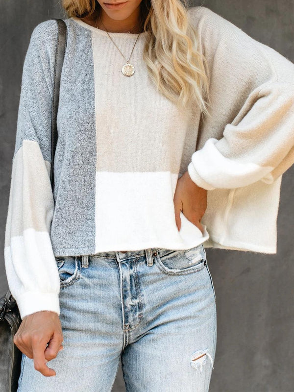 Beige Color Block Stylish Splice Round Neck Loose Sweater