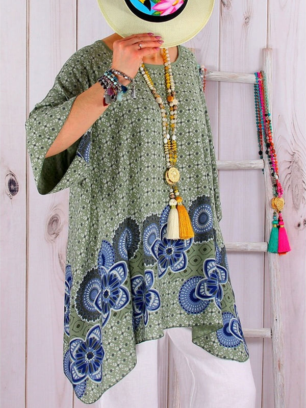 Plus Size Asymmetric A-Line Loose Print Blouse