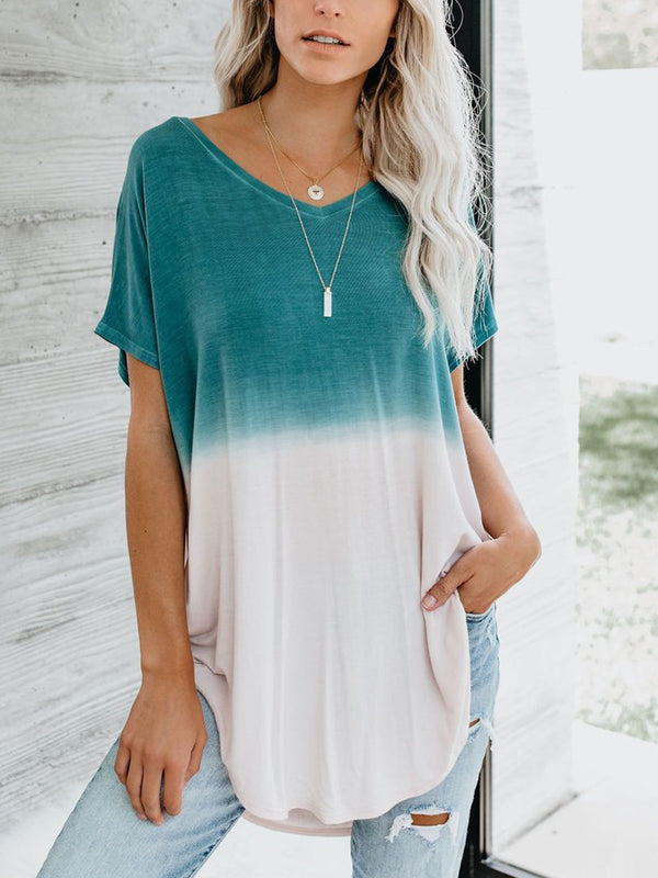 Plus Size Gradient Pattern Loose Casual T-Shirt
