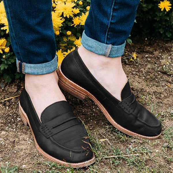 Pu Low Chunky Heels Casual Loafers Shoes