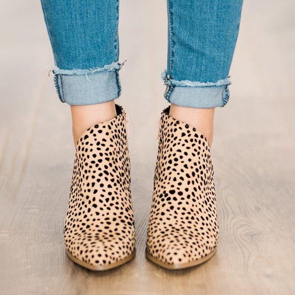 Pointed Toe Leopard Zipper Casual Spring/Fall Chunky Heel Ankle Boots