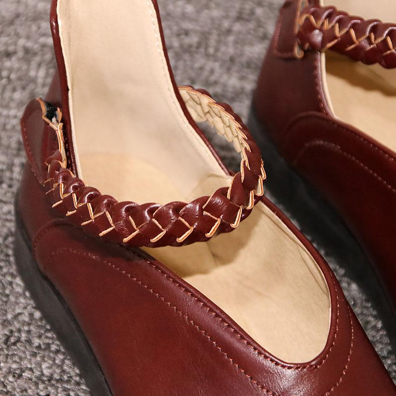 Round Toe Artificial Leather Ankle Strap Weaved Flats