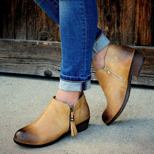 Vintage Style Tassel Side-Zipped Ankle Booties