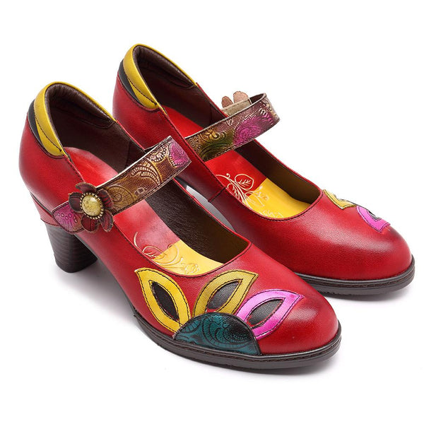 Red Flower Trim Vintage Med Chunky Mary Jane Shoes