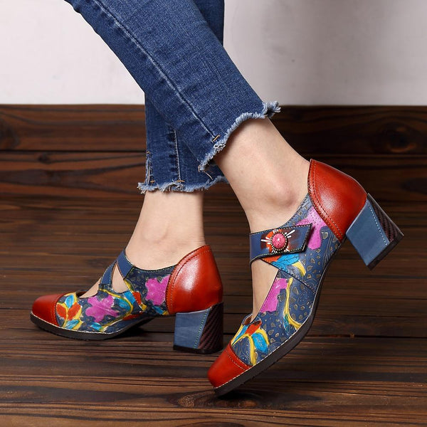 Blue Square Toe Hollow Color Block Floral Medium Chunky Mary Jane Sandals