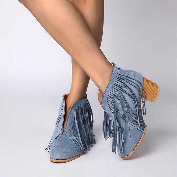 Center Slit High Chunky Fringe Women Ankle Boots