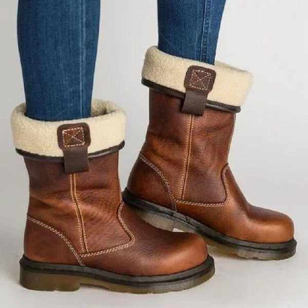 Brown Winter Warm Mid-Calf Round Toe Low Heels Boots