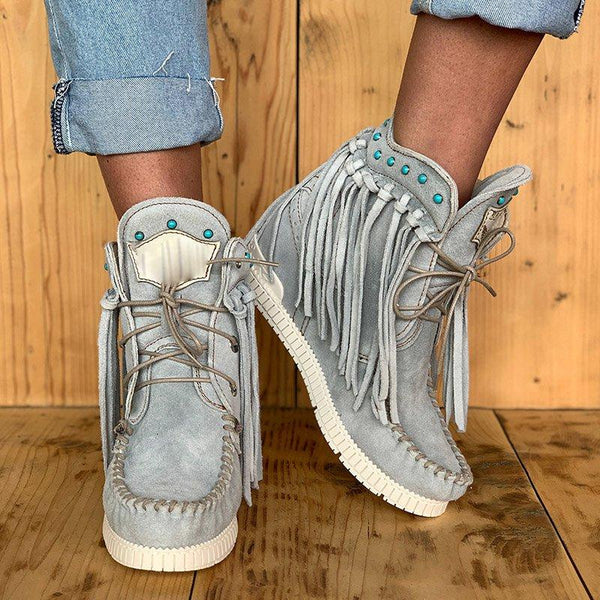 Gray Tassel Wedge Heel Faux Suede Spring/Fall Boots