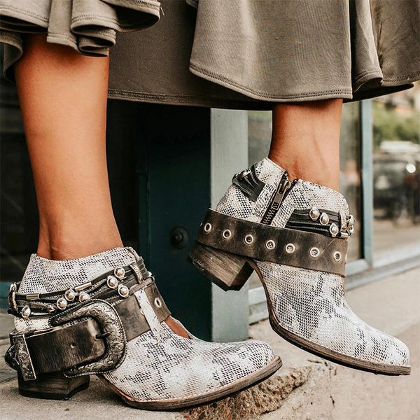Distressed Rivet Chain Buckle Ankle Medium Chunky Booties