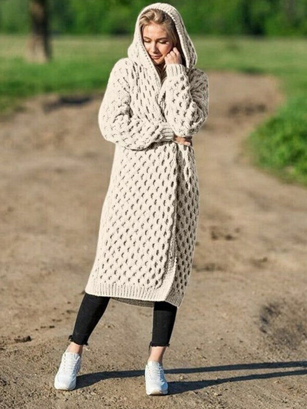 Plus Size Solid With Hood Sweater Cardigan Coat