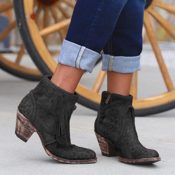Women Comfy Vintage Braid Tassel Medium Chunky Slip-On Booties Shoes