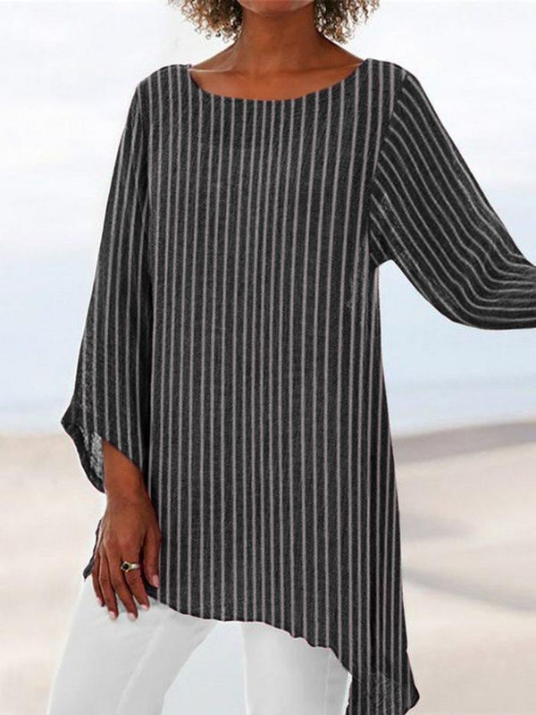 Plus Size Striped Print Round Neck Crop-Sleeved Asymmetric Hem Blouse